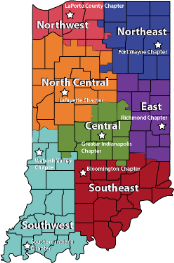 Indiana Map of Cadre Regions